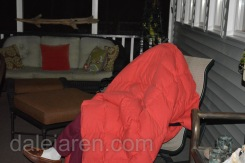 Dad keeping warm on back porch during owlet watch.